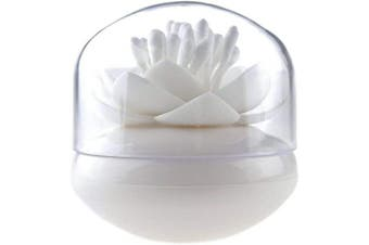(White) - Bloss Q-tip Holder Cotton Swab Holder Lotus Q-tip Dispenser Cotton Bud Holder Toothpick Holder Toothpick Case Stylish Cotton Swab Box, White