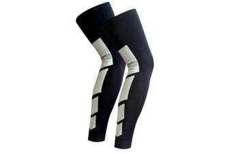 (Large, Black) - Recovery Compression Leg Sleeves (Pair) - sport Football Basketball Cycling Strech Leg Knee Long Sleeve-black