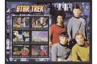 Star Trek Captain Kirk, Dr Leonard McCoy, Mr Spock, Scotty, Uhura Postage Stamps Antigua 3021