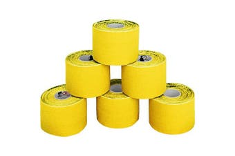 (Yellow) - BB Sport 6 Rolls Kinesiology Tape Muscle Support Tape 5 m x 5 cm E-Book Application Examples Muscle Support Elastic Strapping Tape, Colour:Yellow