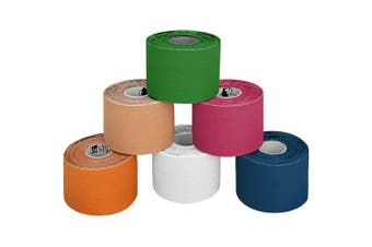 (Multicoloured) - BB Sport 6 Rolls Kinesiology Tape Muscle Support Tape 5 m x 5 cm E-Book Application Examples Muscle Support Elastic Strapping Tape, Colour:Multicoloured