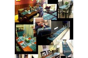 (180cm  x 33cm , Mediterranean) - Artbisons Table Runner Blue Abstract 180cm x 33cm Thickly Soft Luxury Handmade Tablerunner