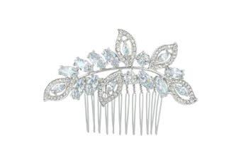 (Silver-Tone) - EVER FAITH Cubic Zirconia Austrian Crystal Leaf Wing Bridal Wedding Hair Side Comb Clear