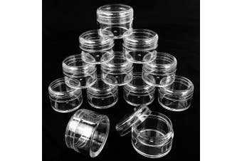 Beauticom 12 Pieces 20G/20ML Round Clear Jars with Screw Cap Lid for Beads, Gems, Glitter, Charms, Small Arts and Crafts Items - BPA Free