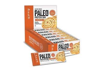 Paleo Protein Bar® (Cinnamon Roll) 12 Bars (20g Egg White Protein 6 Net Carbs w/Probiotics)