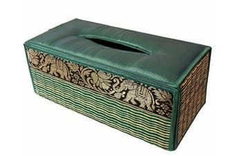 "(Green Teal) - TISSUE BOX ""A"" cover case Sheath natural Reed wicker ECO sustainable material plush SILK Trim Elephant Side (Green Teal)"