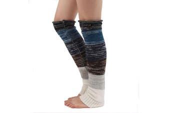 (Black) - Ewandastore Women's Mixed Colour Winter Knit Buttons Leg Warmers Long Boot Socks