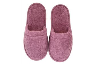 (One Size, Plum with Black Sole) - Arus Women's Turkish Terry Cotton Cloth Spa Slippers