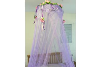 (Purple) - Octorose ® Flower Top Around Bed Canopy Mosquito Net for Bed, Dressing Room, Out Door Events (Purple)
