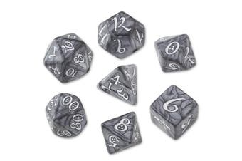 Q-workshop 7 Dice Set of Smoky & White Classic SCLE78