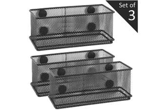MyGift Wire Mesh Magnetic Storage Baskets, Office Supply Organiser, Set of 3, Black