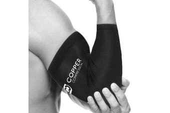 (Small) - Copper Compression Recovery Elbow Sleeve - Guaranteed Highest Copper Elbow Brace for Tendonitis, Golfers Elbow, Tennis Elbow, Arthritis. Copper Infused Fit Elbow Support Arm Sleeves Men Women Small