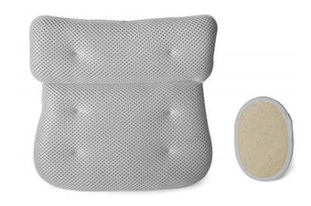Luxury Plush Bath Spa Pillow with 6 Extra Large Suction Cups PLUS Exfoliating Natural Loofah Pad - Thick Soft Air Mesh Technology - Perfect for Bathtub Jacuzzi and Hot Tub - Fits all sizes