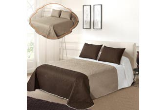 (FULL / QUEEN, White/Beige/Coffee) - All American Collection New 3pc Solid Three Colour Combination Reversible Bedspread Set (Full/Queen Size, White/Beige/Coffee)