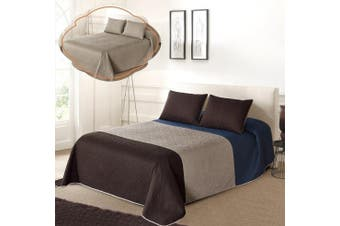 (KING/ CAL KING, Blue/Taupe/Coffee) - All American Collection Tri-Colour Reversible King/Cal King Oversized Bedspread and Pillow Sham Set | Mix and Match for New Looks!