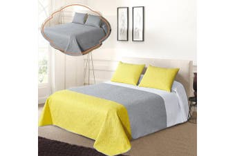 (FULL / QUEEN, White/Grey/Yellow) - All American Collection New 3pc Solid Three Colour Combination Reversible Bedspread Set (Full/Queen Size, White/Grey/Yellow)