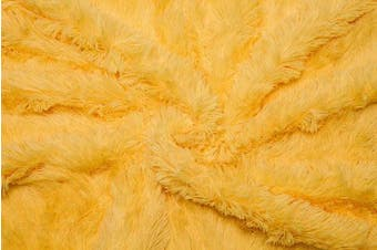 (130cm  x 170cm , Yellow) - Chanasya Super Soft Long Shaggy Chic Fuzzy Fur Faux Fur Warm Elegant Cosy With Fluffy Sherpa Yellow Throw Blanket (130cm x 170cm ) - Solid Shaggy Yellow