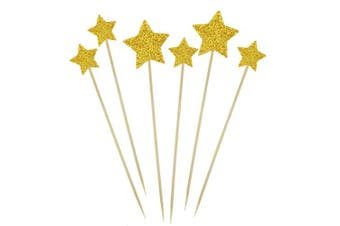 Bilipala Gold Star Cake Cupcake Decorations Toppers Picks Supplies, Appetiser Picks, 24 Counting by Bilipala