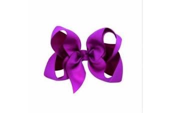 (Purple) - BFab 15cm Big Hair Grosgrain Ribbon Bow with Alligator Clip Pin (Purple)