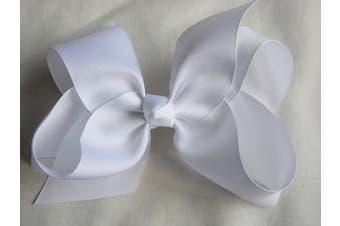(White) - BFab 15cm Big Hair Grosgrain Ribbon Bow with Alligator Clip Pin (White)