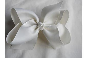 (Cream) - BFab 15cm Big Hair Grosgrain Ribbon Bow with Alligator Clip Pin (Cream)