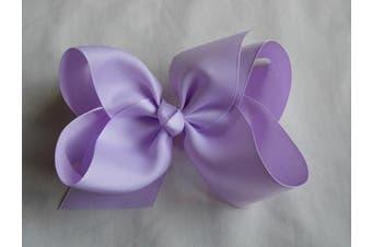 (Lavender) - BFab 15cm Big Hair Grosgrain Ribbon Bow with Alligator Clip Pin (Lavender)