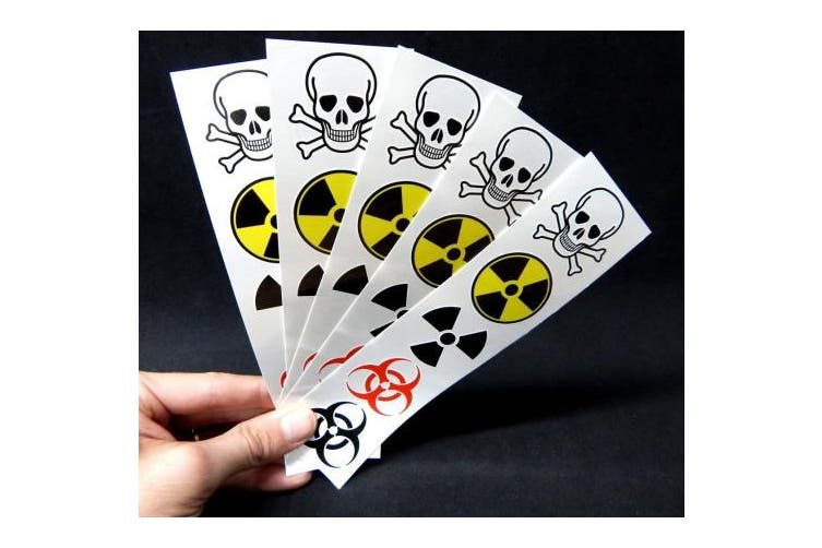 Warning Symbol Temporary Tattoos: Biohazard, Radiation, Poison Tattoo
