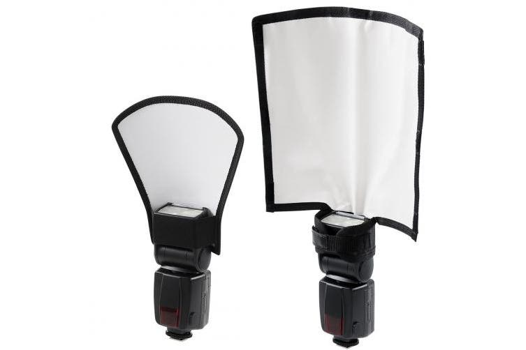 Flash Reflector Diffuser Kit, Bend Bounce Positionable Diffuser + Silver/White Reflector, Camera Flash Diffuser for Nikon Canon Sony