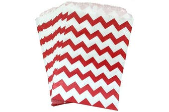 AKOAK 50 Pcs 13cm x 18cm White and Red Wave Striped Paper Bags,Holiday Wedding Christmas Favour Candy Treat Bags