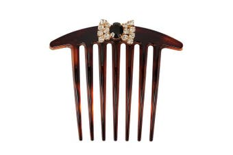 Caravan French Twist Comb Hand Decorated with Bow in Jet and Crystal Stone