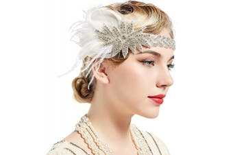 (White) - BABEYOND Vintage 1920s Flapper Headband Roaring 20s Great Gatsby Headpiece with Feather 1920s Flapper Gatsby Hair Accessories (White)