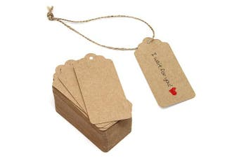 (No Christmas Tree) - 90m Natural Jute Twine and 100PCS Brown Retangle Kraft Paper Gift Tags for Crafts & Price Tags Lables by Blisstime