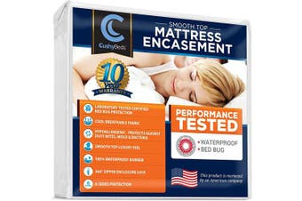 (Full XL, Mattress Encasement) - Smooth Top Mattress Encasement Protector Cover by CushyBeds - Patented 360 Zipper Enclosure w/ Bed Bug Banisher, Breathable 100% Waterproof Noiseless 6-Sided Protection - Full XL (28cm - 38cm Depth)