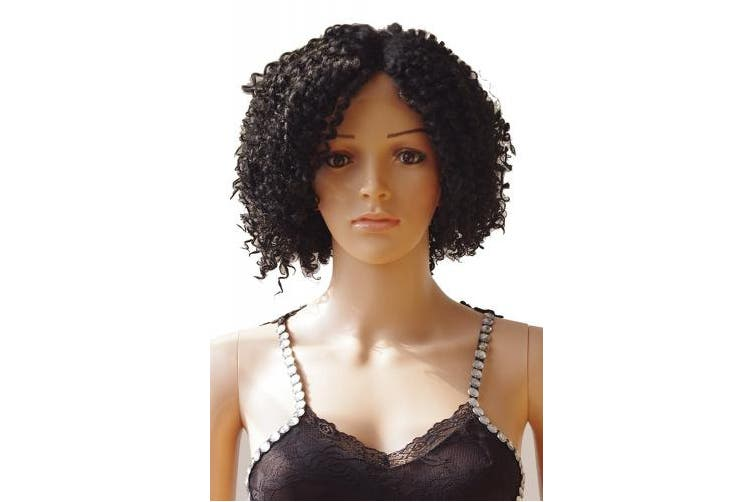 """(1B off Black) - S-noilite® 12""""(30CM) Black Short Curly Wig Lady Fashion Daily Heat Resistant Lace Front Hair Wigs (1B off Black)"""