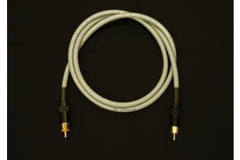 Van Damme Grey Ultra Subwoofer Cable 2 Metre Single Length Terminated With High Quality Gold Plated RCA Phono Plugs.