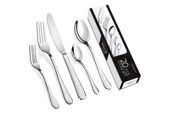 (Classic,32-pcs,Service for 8) - AckMond 20-piece Stainless-steel Cutlery Set Flatware Set Tableware Dinnerware knife fork spoon, Service for 4