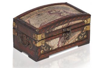 (Madrid) - Brynnberg - Pirate Treasure Chest Storage Box - Durable Wood & Metal Construction - Unique, Handmade Vintage Design With A Front Lock - Striking Decorative Element - The Best Gift (Madrid)