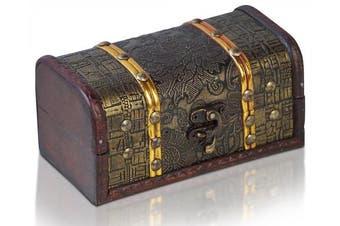 (Prag) - Brynnberg - Pirate Treasure Chest Storage Box - Durable Wood & Metal Construction - Unique, Handmade Vintage Design With A Front Lock - Striking Decorative Element - The Best Gift (Prag)