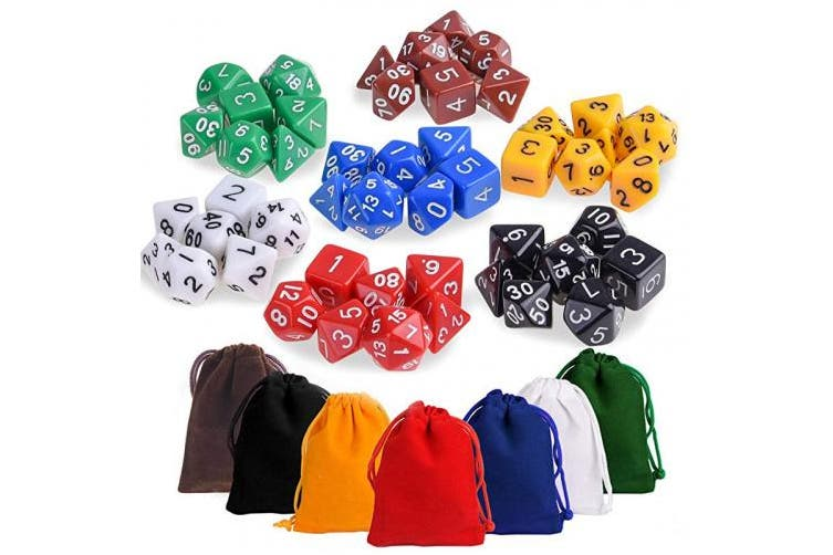 Kuuqa 7 x 7 (49 pcs) Polyhedral Game Dice Set 7 Colour Complete set for Dungeons and Dragons DND D & D MTG RPG Card Games D% D20 D12 D10 D8 D6 D4 with Dice Bags
