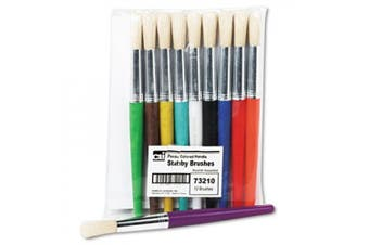 Charles Leonard Stubby Brush Set, Natural Bristle, Flat, 10/Set, ST - LEO73290