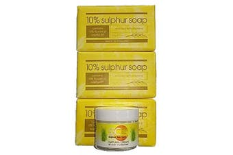 Sulphur Soap and Cream Skin Care Gift Set (4 pieces): for people with skin complaints