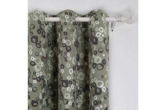 (110cm  X 210cm , Brown) - Deconovo Decorative Bubbles Circle Printed Thermal Insulated Blackout Window Curtains Grommet Curtains 110cm Wide by 210cm Long for Baby Room Brown One Pair