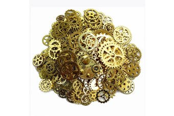 (Antique Gold) - Aokbean 150 Gramme Assorted Vintage Gold Metal Steampunk Jewellery Making Charms Cog Watch Wheel (Antique Gold)