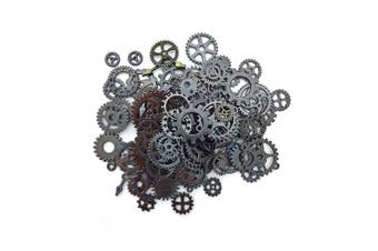 (Gun Black) - Aoyoho 100 Gramme Assorted Vintage Gun Black Metal Steampunk Gears Charms Pendant Clock Watch Wheel Gear for Crafting (Gun Black)