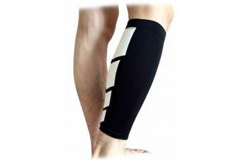 (Large, Black) - CFR Calf Compression Sleeve - Helps Shin Splints Sport Gym Support Braces Unisex Leg Socks One Pair