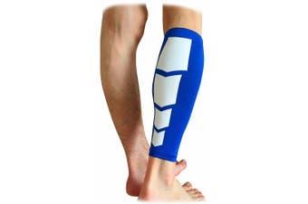 (Large, Blue) - CFR Calf Compression Sleeve - Helps Shin Splints Sport Gym Support Braces Unisex Leg Socks One Pair