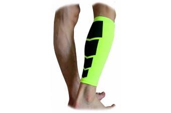 (Medium, Green) - CFR Calf Compression Sleeve - Helps Shin Splints Sport Gym Support Braces Unisex Leg Socks One Pair