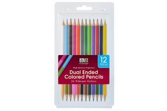(Dual Colored Pencils, 12 Piece Set) - Art Advantage ART-3060-12 Dual Ended Coloured Pencil Set 12 Pencils