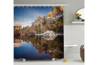 (180cm  W By 190cm  L, Multi 1) - Ambesonne Apartment Decor Collection, Yosemite Mirror Lake and Mountain Reflection on Water Sunset Evening View Picture, Polyester Fabric Bathroom Shower Curtain Set, 190cm Long, Navy Brown
