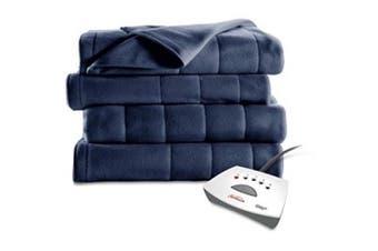 (Queen, Newport Blue) - Sunbeam Electric Heated Fleece Blanket (Queen, Newport Blue)